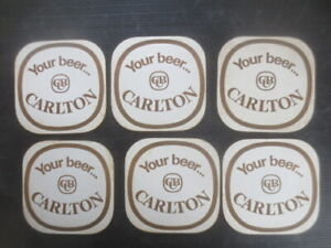 6 C.U.B.  x CARLTON late 1950,s,early 1960,s Issued Coasters two  sided BROWN