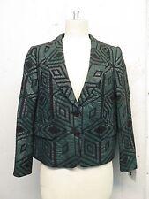 Dries Van Noten Green Black Wool Diamond Jacquard Blazer Jacket Sz 38 Totokaelo