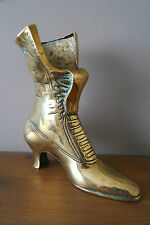 VINTAGE LARGE DECORATIVE  BRASS VICTORIAN LADY'S BOOT-HIGHT 8.5 INCH