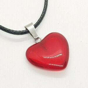 Red Sapphire Heart Necklace Pendant Yoga Chakra Ruby Healing Stone Crystal Yogi
