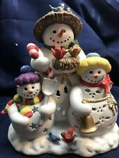 Partylite Candle Tealight Holder Snowman Trio Snowbell Winter / Christmas Decor