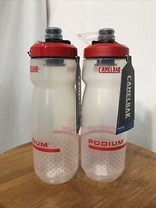 Lot of 2 Red And Clear Podium Camelbak Water Bottles-24Oz