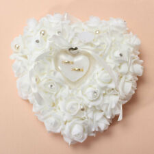 Wedding Rose HeartShaped Ring Box Bearer Holder Cushion Pillow Gift