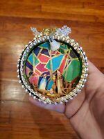 Vintage Diorama NATIVITY SCENE Christmas Ornament Glass and Ribbon BEAUTIFUL!