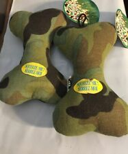 2 Multipet Petigues Canvas Army Bone 8 inch Dog Toys Chew Play Squeaker toy lot