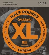 D'Addario Half Round Electric Guitar Strings, Light Top/Heavy Bottom, 10-52