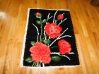Pink Rose Latch Hook Rug Ready to Complete Vintage Handmade 32 x 40 Inches