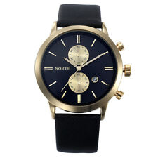 Hombres Deporte Casual Waterproof Date Leather Military Reloj Regalo
