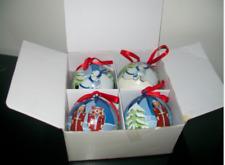 Tupperware Paper Mache Ornaments Set of 4 in Box Nutcracker Polar Bears New