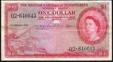 1956 BRITISH CARIBBEAN TERRITORIES $1 DOLLRAS BANKNOTE * Q2-640645 * gF * P-7b *