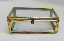 Small Brass Bound Glass Box - Trinkets, Precious Things, Display, Crafts - BNWT