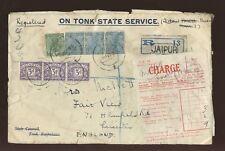 India 1932 Tonk Estado Oficial reg.charge Gb 91) p.due