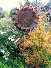 Cut Iron Metal Large Sunflower Garden Stake Yard Lawn Outdoor Landscape Decor