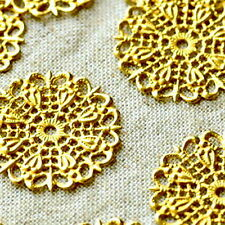 25mm Raw Brass Round Filigree Embellishment Wraps Charms Finding bp23 (4pcs)