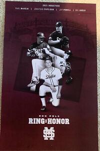 MISSISSIPPI STATE Baseball 2021 Poster Polk Ring Honor Papelbon Maholm Powell