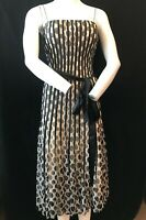 PHASE EIGHT Women's Spotty Stripey Bow Tie Waist Knee Length Party Dress UK 14