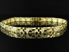 Nugget Style Link Designer 8 Inch Bracelet Mens and Ladies 14K Yellow Gold Over