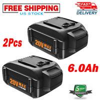 2X WA3525 WA3575 For WORX WA3520 WA3578 MAX 6.0AH 20Volt Lithium Battery WG155s