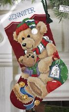 """GIFT FOR TEDDY"" BUCILLA CHRISTMAS STOCKING KIT TAPESTRY NEEDLEPOINT 45CM"
