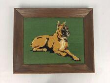 Vtg Handmade Wood Framed Dog Bullmastiff Boxer Finished Needlepoint Cross Stitch