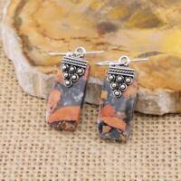Maligano Jasper 925 Sterling Silver Drop Earrings Jewellery N3