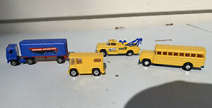 Vintage The Lindberg Line Toy School Bus, Mail Truck, Tow Truck, Tractor Trailer