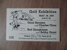 1935 TICKET GENE SARAZEN CHARLES CLARE VS GEOGHEGAN BOBBY GRANT GOLF EXHIBITION
