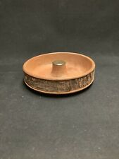 VINTAGE NUT BOWL WITH TREE BARK AND BRASS COLLECTIBLE UNUSUAL CARVED