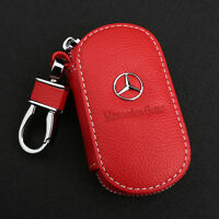 Red Cowhide leather Car Key Holder Keychain Ring Case Bag Fit For Mercedes-Benz