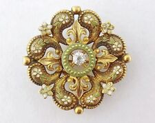 Krementz Antique Victorian 14K Gold Enamel Diamond Watch Pin