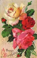 1900's VINTAGE EMBOSSED HAPPY BIRTHDAY BUNCH of BEAUTIFUL ROSES POSTCARD