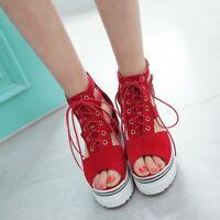 Women Open Toe Hidden Wedge Heel Lace up Roman High Platform Shoes Sandals