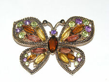 Stunning Gold Tone MONET Butterfly Brooch Marquise Rhinestones A2
