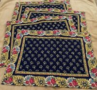 Set of 4 Vera Bradley Placemats in Maison Blue - Table Decor, Floral, Yellow