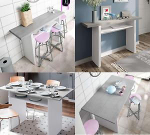 Alvor Folding Grey and White Slim Extending Breakfast Bar Table 2941