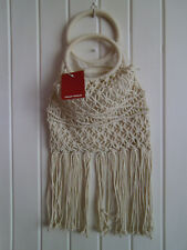 BNWT - LADIES CREAM COTTON CROTCHED BOHO BAG WITH TASSLES BY TALLY WEIJL