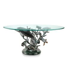 Dolphin Seaworld Brass Marble Coffee Table Turtle Coastal Nautical Sculpture SPI