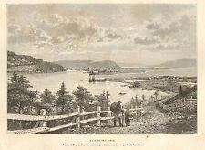CANADA TERRE-NEUVE NEWFOUNDLAND BAIE DE PLAISANCE PLACENTIA BAY ENGRAVING 1890