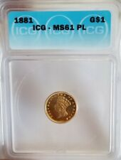 1881 Gold $1 Dollar Indian Princess ICH MS61 PL Proof Like