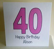 Personalised 40th Birthday Card handmade female friend mum aunt any wording