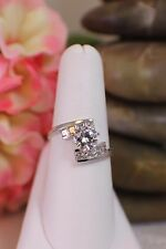 Solid 14K White Gold Cubic Zirconia, cz Round & Prin cut Engagement ring sz 8