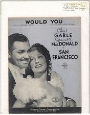 Rare Orig VTG 1936 Gable MacDonald Would You San Francisco Sheet Music Print