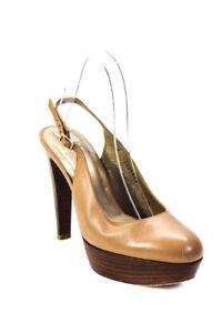 Stuart Weitzman Womens Platform Slingbacks Tan Brown Leather Size 7.5