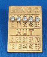 Vintage Bingo Nut Rhinestone Pin Pinback