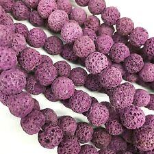 Lava Beads 8mm Purple x 47 Pieces