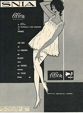 PUBLICITE ADVERTISING 124 1960  LILION  lingerie nuisette sous vetements SNIA