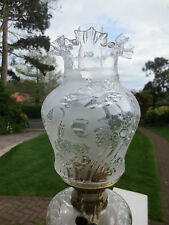 ANTIQUE VICTORIAN  MOULDED GLASS TULIP DUPLEX OIL LAMP SHADE A/F