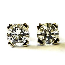 New 14k white gold 1.42ct SI1-2 G round diamond stud earrings GIA certified