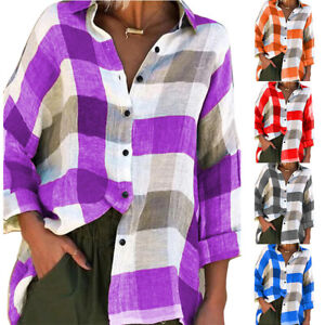 Fashion Womens Long Sleeve Plaid Check Blouse Ladies Casual Loose Shirts Tops UK