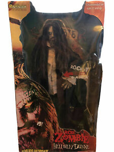 "Rob Zombie Hellbilly Deluxe Art Asylum 18"" Doll w/ Sound 2001 Horror Figure"